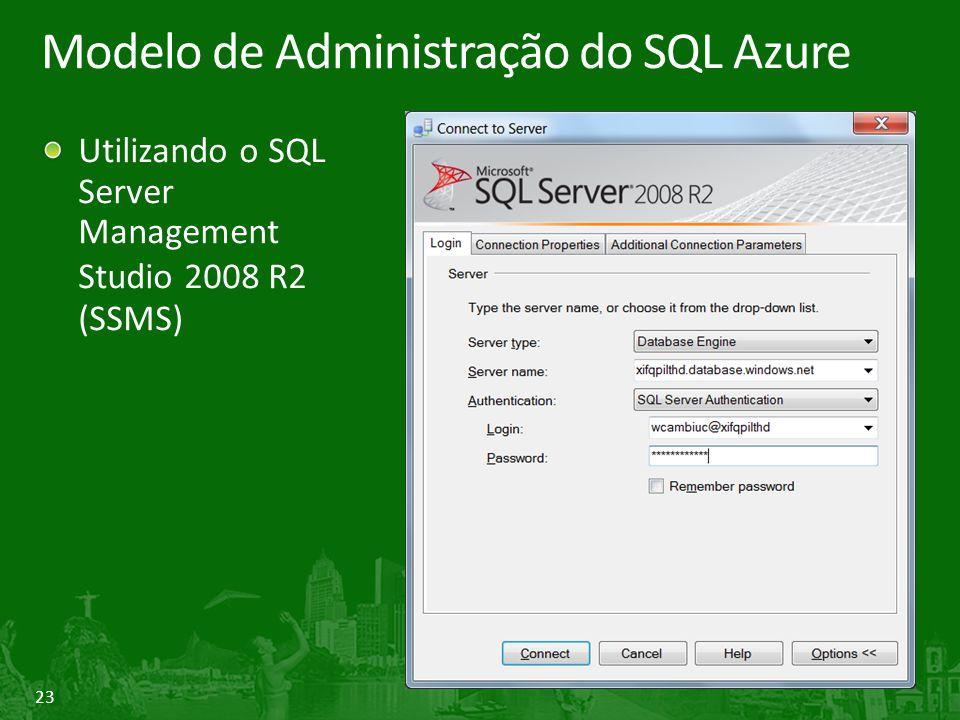 23 Modelo de Administração do SQL Azure Utilizando o SQL Server Management Studio 2008 R2 (SSMS)