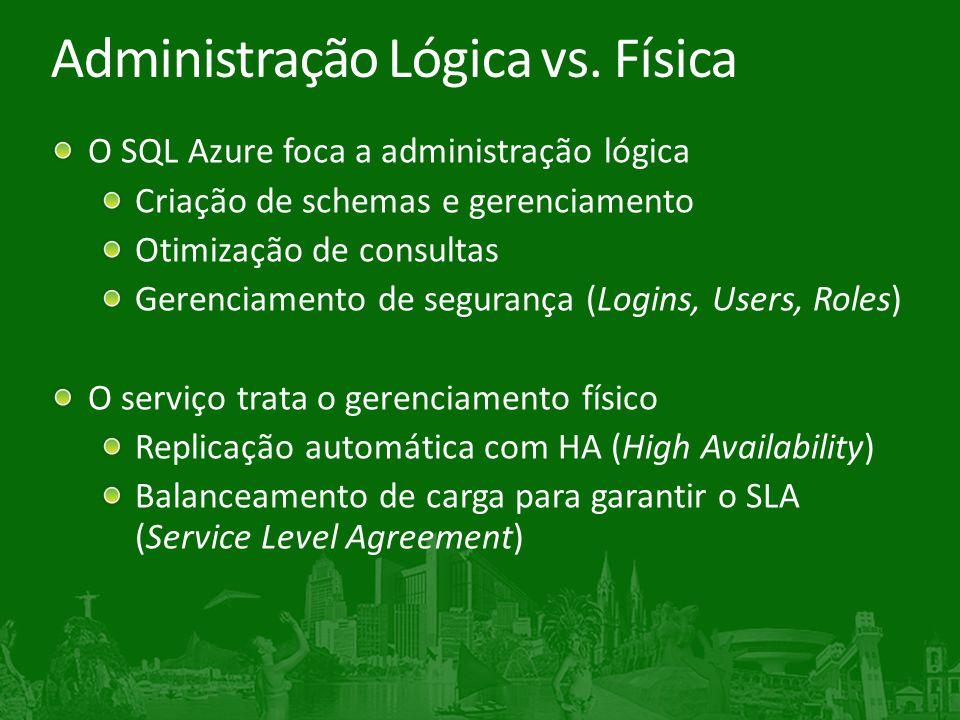 Administração Lógica vs. Física O SQL Azure foca a administração lógica Criação de schemas e gerenciamento Otimização de consultas Gerenciamento de se
