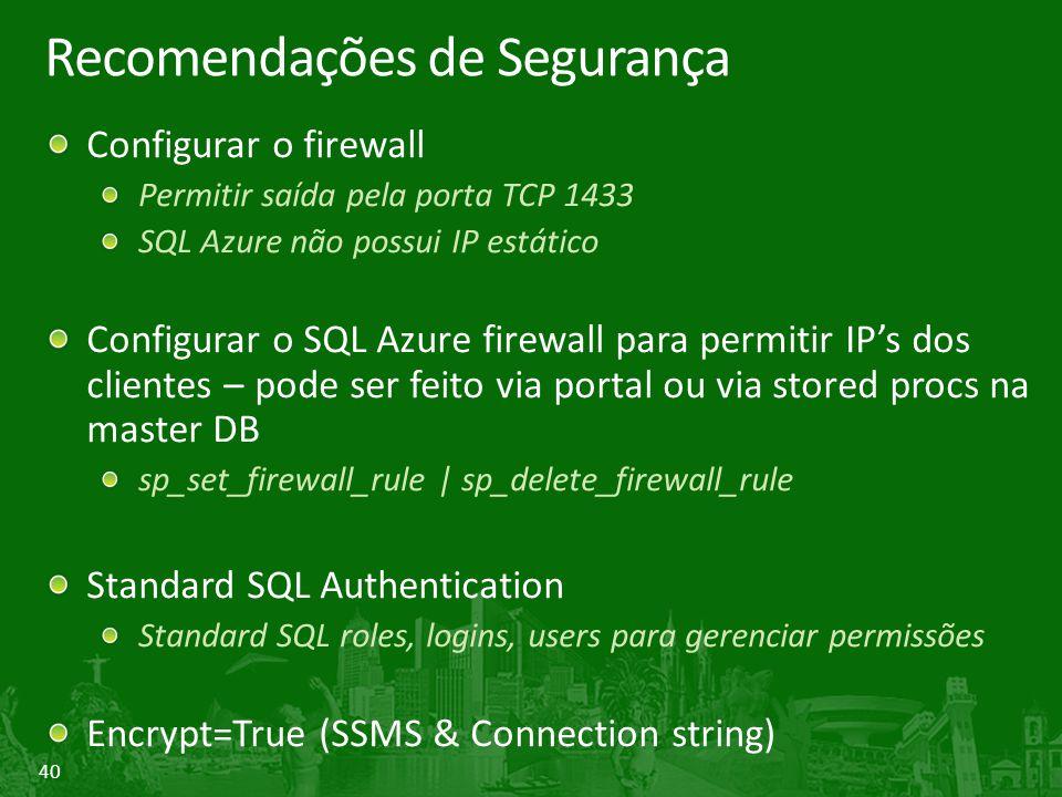 40 Recomendações de Segurança