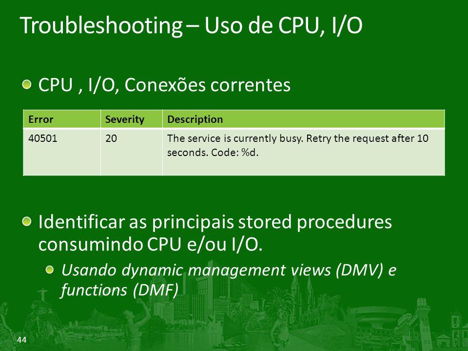 44 Troubleshooting – Uso de CPU, I/O CPU, I/O, Conexões correntes Identificar as principais stored procedures consumindo CPU e/ou I/O. Usando dynamic