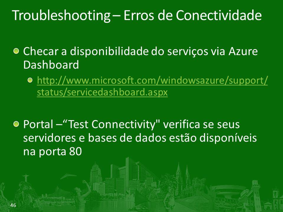 46 Troubleshooting – Erros de Conectividade Checar a disponibilidade do serviços via Azure Dashboard http://www.microsoft.com/windowsazure/support/ status/servicedashboard.aspx Portal – Test Connectivity verifica se seus servidores e bases de dados estão disponíveis na porta 80