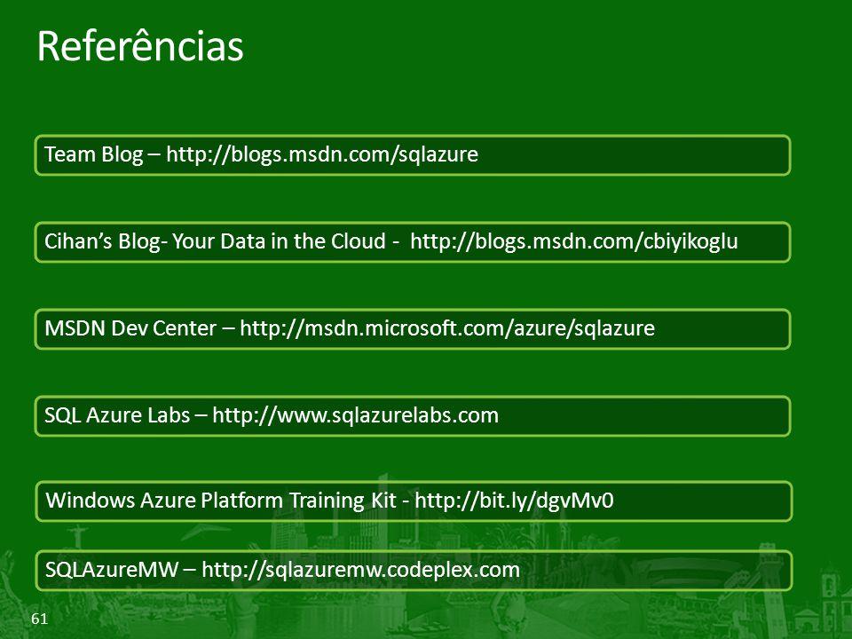 61 Referências Team Blog – http://blogs.msdn.com/sqlazure Cihan's Blog- Your Data in the Cloud - http://blogs.msdn.com/cbiyikoglu MSDN Dev Center – ht