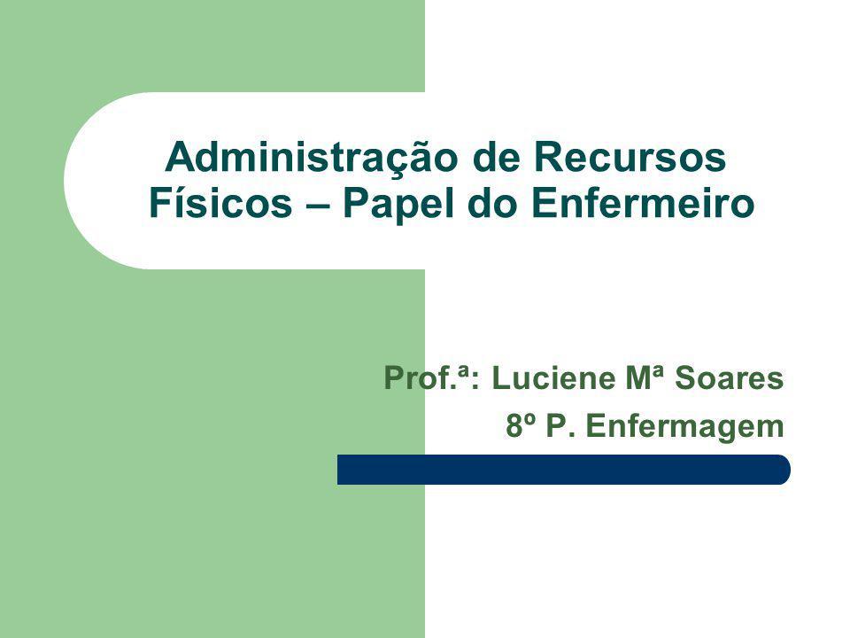 Administração de Recursos Físicos – Papel do Enfermeiro Prof.ª: Luciene Mª Soares 8º P. Enfermagem