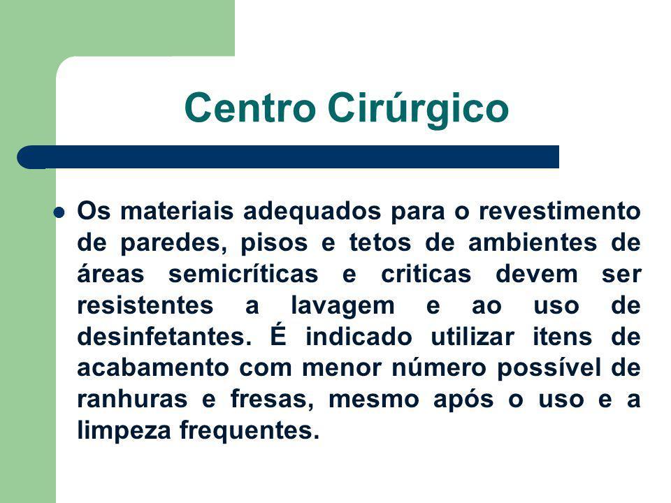 Centro Cirúrgico Os materiais adequados para o revestimento de paredes, pisos e tetos de ambientes de áreas semicríticas e criticas devem ser resisten
