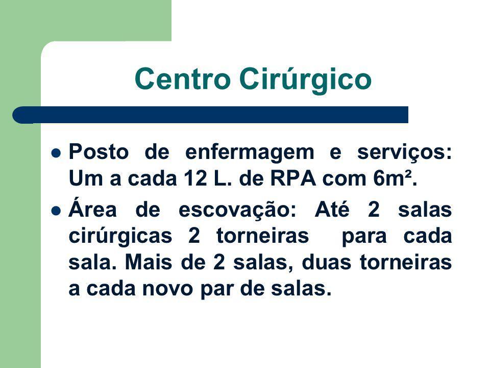 Centro Cirúrgico Posto de enfermagem e serviços: Um a cada 12 L. de RPA com 6m². Área de escovação: Até 2 salas cirúrgicas 2 torneiras para cada sala.
