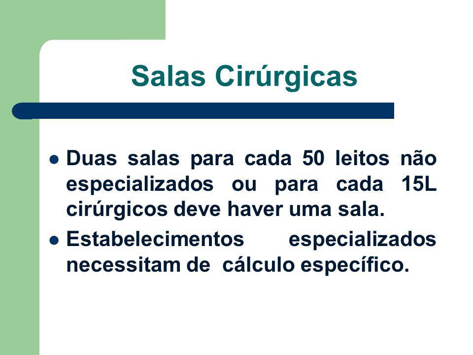 Salas Cirúrgicas Duas salas para cada 50 leitos não especializados ou para cada 15L cirúrgicos deve haver uma sala. Estabelecimentos especializados ne
