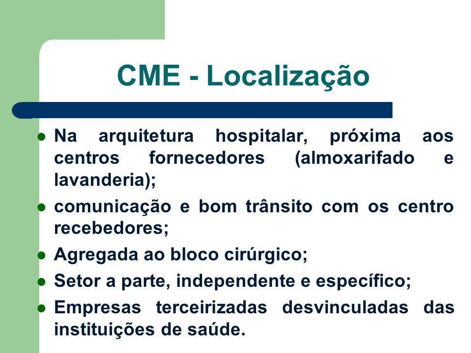 CME - Localização Na arquitetura hospitalar, próxima aos centros fornecedores (almoxarifado e lavanderia); comunicação e bom trânsito com os centro re