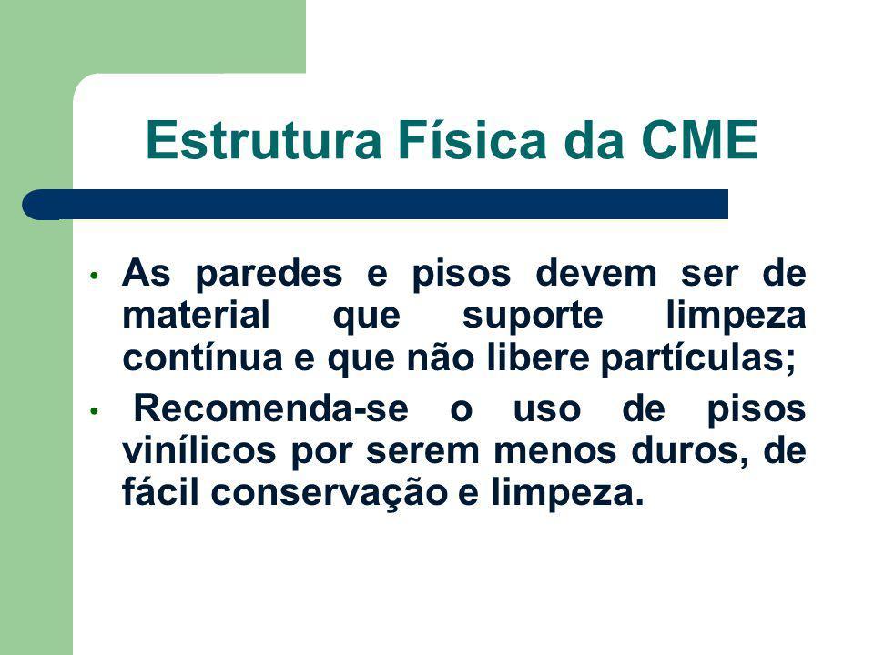 Estrutura Física da CME As paredes e pisos devem ser de material que suporte limpeza contínua e que não libere partículas; Recomenda-se o uso de pisos