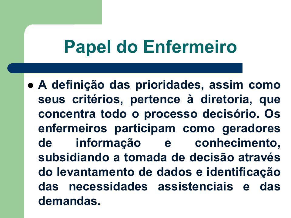 Papel do Enfermeiro A definição das prioridades, assim como seus critérios, pertence à diretoria, que concentra todo o processo decisório. Os enfermei