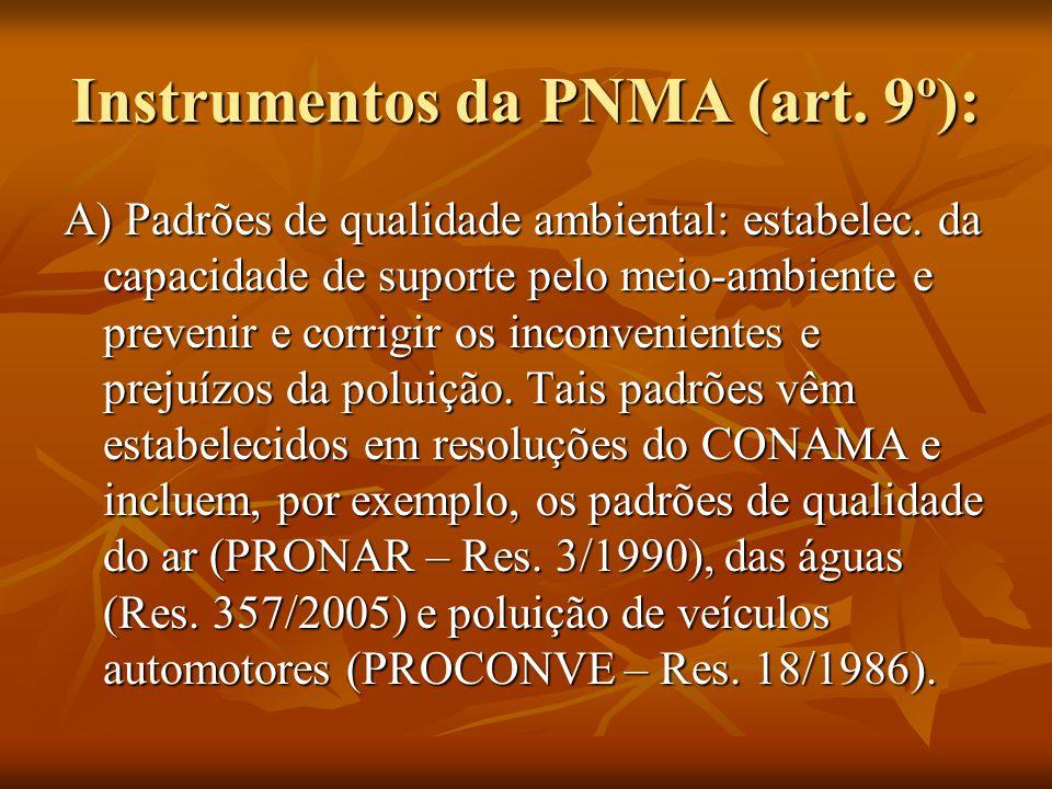 Instrumentos da PNMA (art. 9º): A) Padrões de qualidade ambiental: estabelec. da capacidade de suporte pelo meio-ambiente e prevenir e corrigir os inc