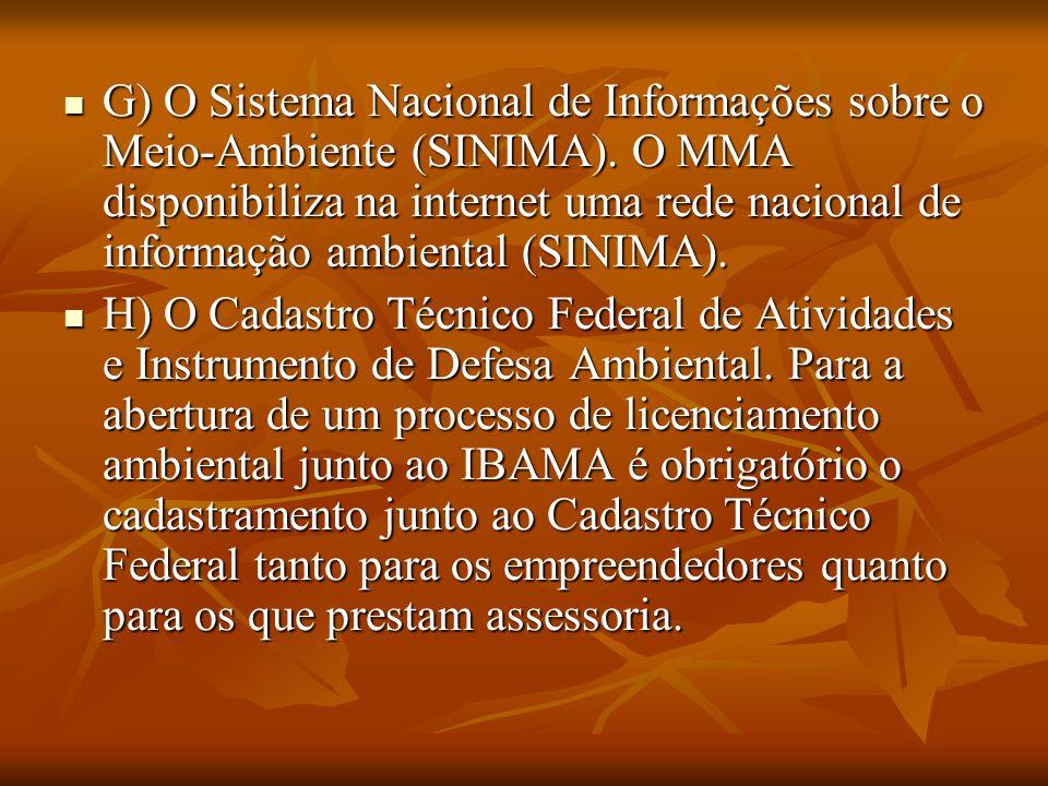 . G) O Sistema Nacional de Informações sobre o Meio-Ambiente (SINIMA). O MMA disponibiliza na internet uma rede nacional de informação ambiental (SINI