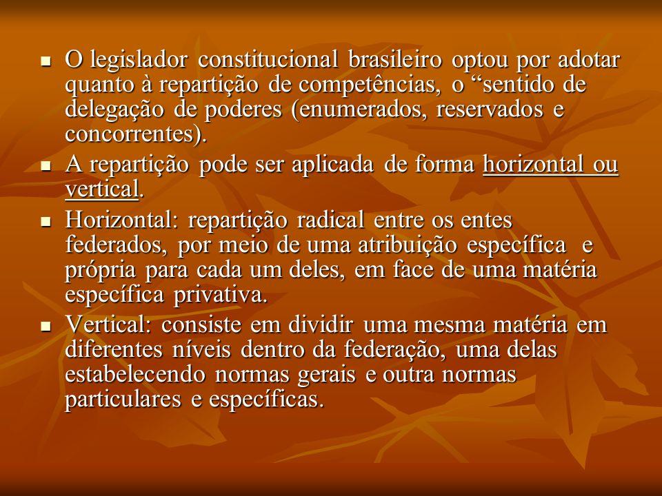 """. O legislador constitucional brasileiro optou por adotar quanto à repartição de competências, o """"sentido de delegação de poderes (enumerados, reserva"""
