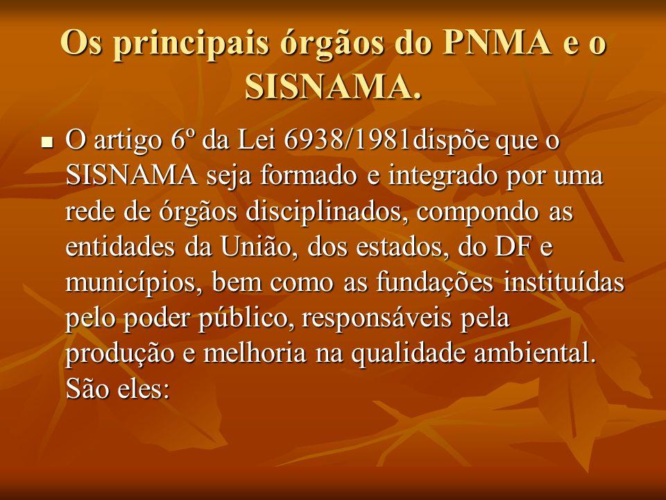 Os principais órgãos do PNMA e o SISNAMA. O artigo 6º da Lei 6938/1981dispõe que o SISNAMA seja formado e integrado por uma rede de órgãos disciplinad