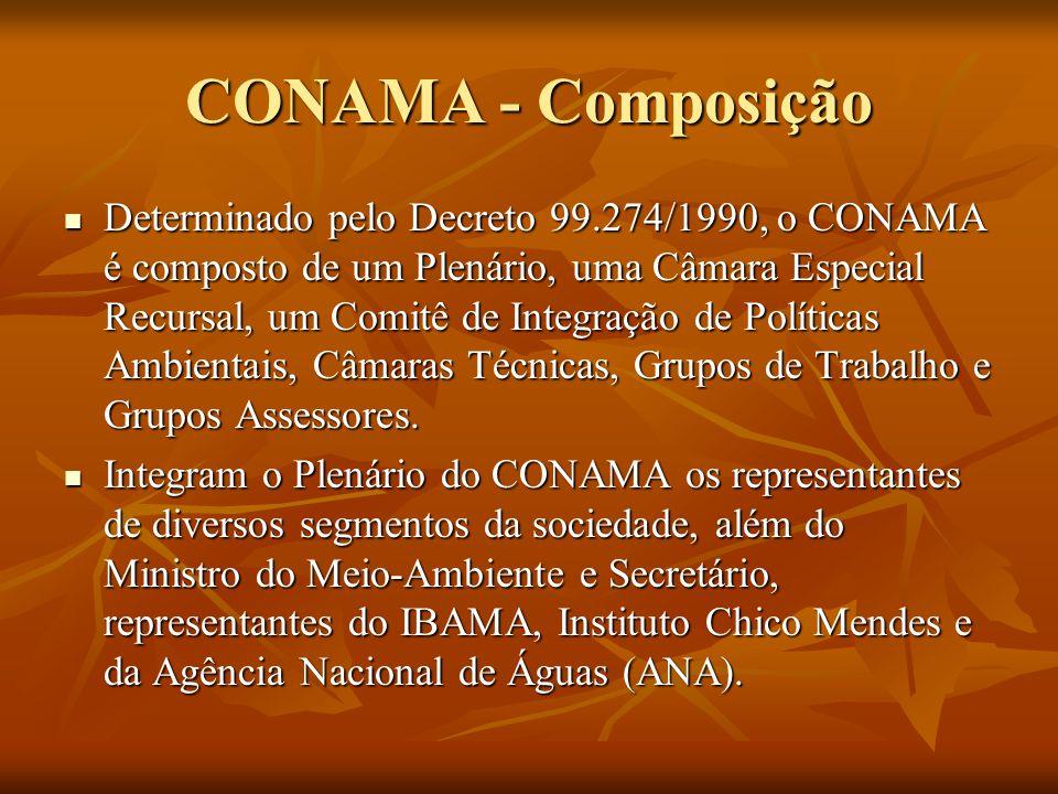 CONAMA - Composição Determinado pelo Decreto 99.274/1990, o CONAMA é composto de um Plenário, uma Câmara Especial Recursal, um Comitê de Integração de