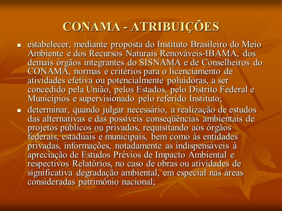 CONAMA - ATRIBUIÇÕES estabelecer, mediante proposta do Instituto Brasileiro do Meio Ambiente e dos Recursos Naturais Renováveis-IBAMA, dos demais órgã
