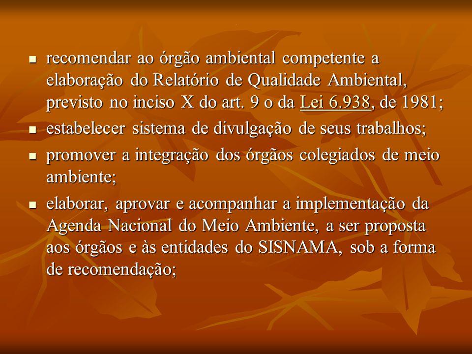 . recomendar ao órgão ambiental competente a elaboração do Relatório de Qualidade Ambiental, previsto no inciso X do art. 9 o da Lei 6.938, de 1981; r