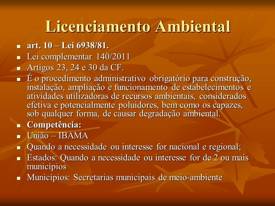 Licenciamento Ambiental art. 10 – Lei 6938/81. art. 10 – Lei 6938/81. Lei complementar 140/2011 Lei complementar 140/2011 Artigos 23, 24 e 30 da CF. A