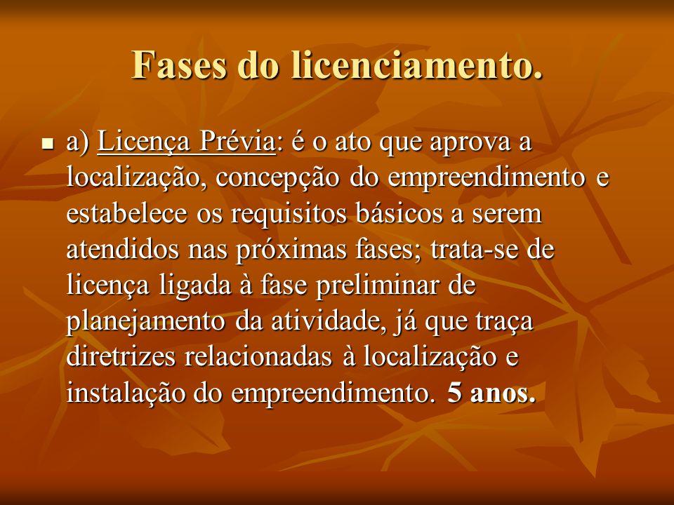 Fases do licenciamento. a) Licença Prévia: é o ato que aprova a localização, concepção do empreendimento e estabelece os requisitos básicos a serem at