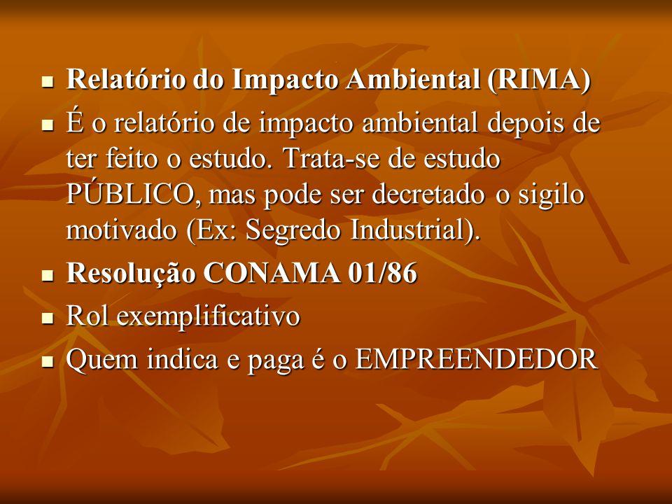. Relatório do Impacto Ambiental (RIMA) Relatório do Impacto Ambiental (RIMA) É o relatório de impacto ambiental depois de ter feito o estudo. Trata-s