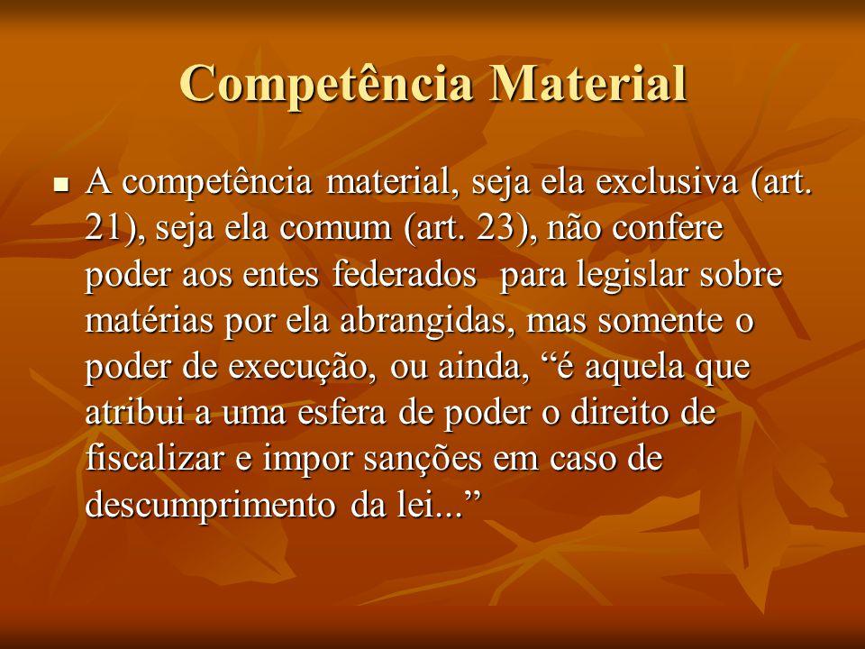 Competência Material A competência material, seja ela exclusiva (art. 21), seja ela comum (art. 23), não confere poder aos entes federados para legisl