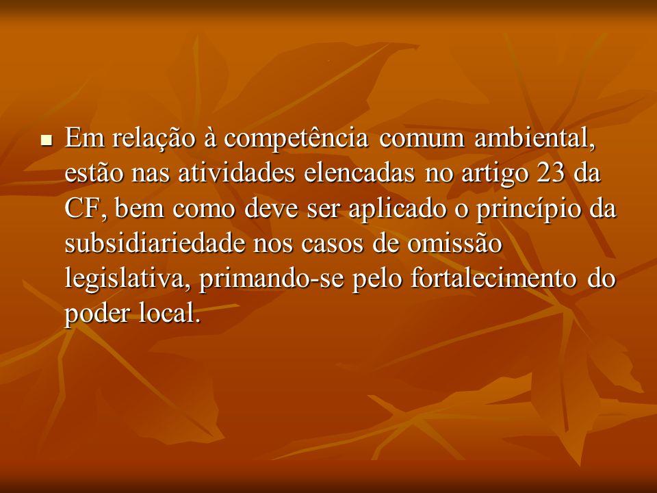 . Em relação à competência comum ambiental, estão nas atividades elencadas no artigo 23 da CF, bem como deve ser aplicado o princípio da subsidiarieda