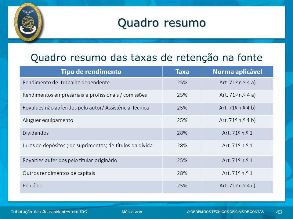© ORDEM DOS TÉCNICOS OFICIAIS DE CONTAS 43 Quadro resumo Tributação de não residentes em IRSMês e ano Quadro resumo das taxas de retenção na fonte Tip