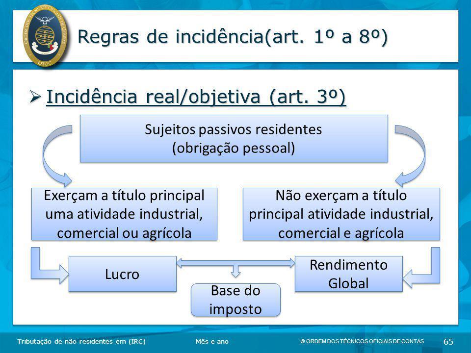 © ORDEM DOS TÉCNICOS OFICIAIS DE CONTAS 65 Regras de incidência(art. 1º a 8º)  Incidência real/objetiva (art. 3º) Tributação de não residentes em (IR