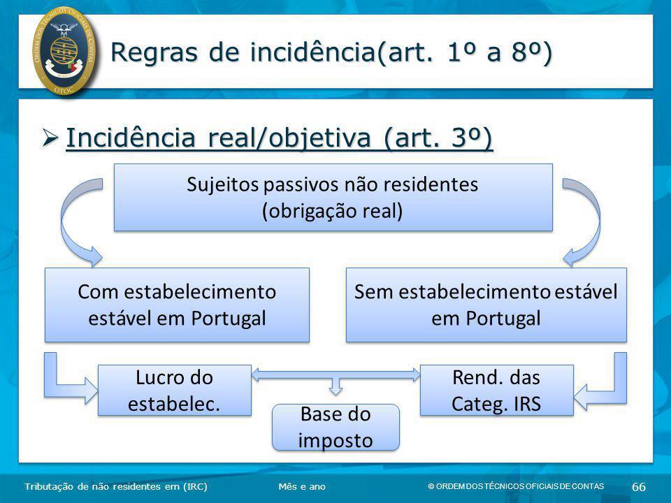 © ORDEM DOS TÉCNICOS OFICIAIS DE CONTAS 66 Regras de incidência(art. 1º a 8º)  Incidência real/objetiva (art. 3º) Tributação de não residentes em (IR