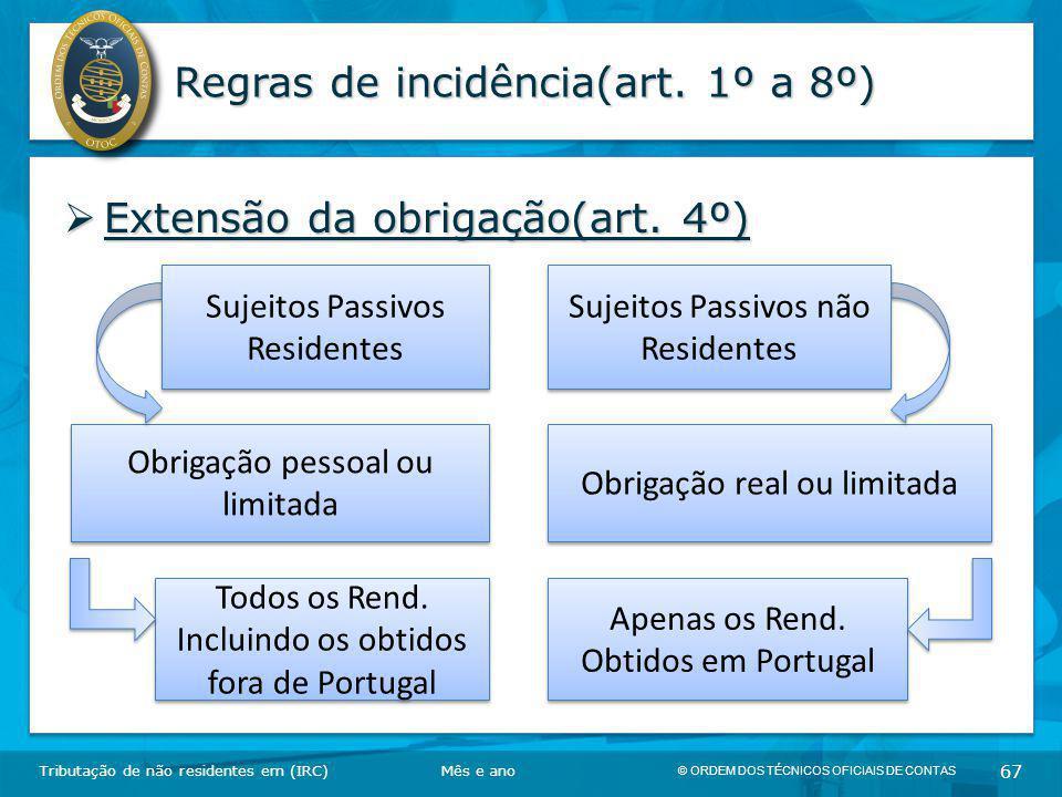 © ORDEM DOS TÉCNICOS OFICIAIS DE CONTAS 67 Regras de incidência(art. 1º a 8º)  Extensão da obrigação(art. 4º) Tributação de não residentes em (IRC)Mê
