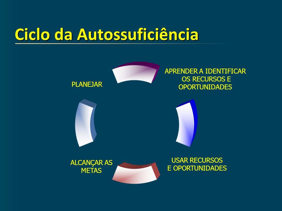 Ciclo da Autossuficiência PLANEJAR APRENDER A IDENTIFICAR OS RECURSOS E OPORTUNIDADES USAR RECURSOS E OPORTUNIDADES ALCANÇAR AS METAS