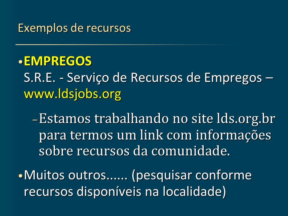 Exemplos de recursos EMPREGOS S.R.E.