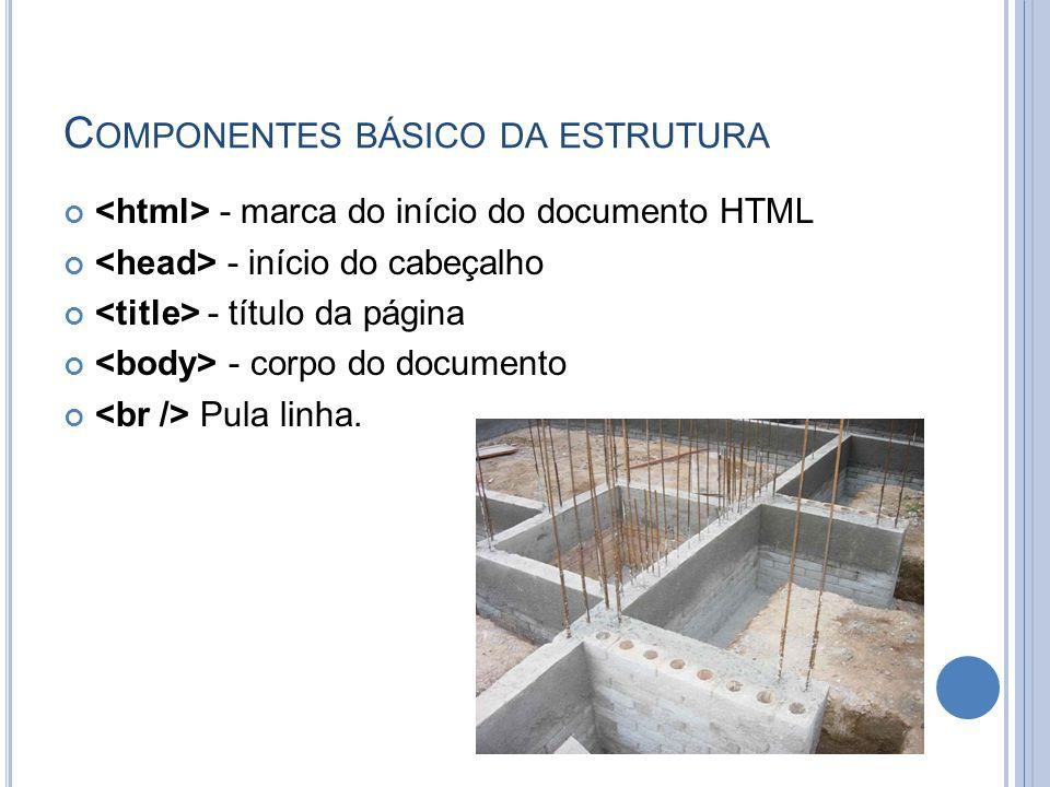 C OMPONENTES BÁSICO DA ESTRUTURA - marca do início do documento HTML - início do cabeçalho - título da página - corpo do documento Pula linha.