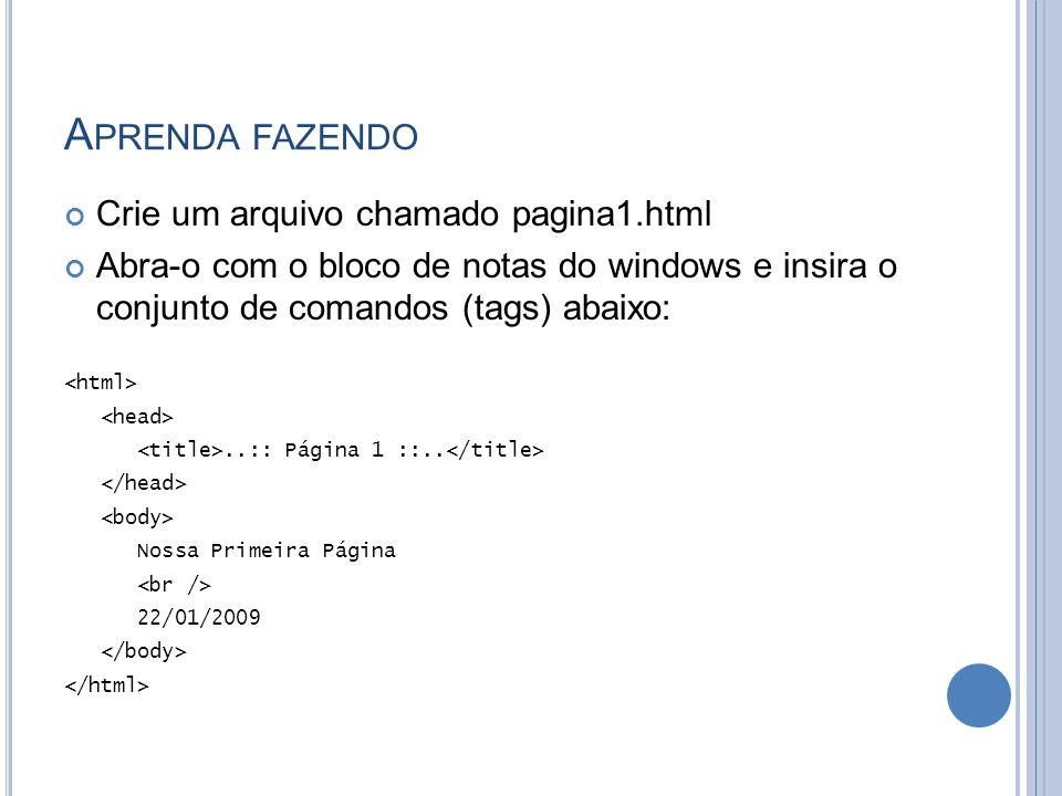 A PRENDA FAZENDO Crie um arquivo chamado pagina1.html Abra-o com o bloco de notas do windows e insira o conjunto de comandos (tags) abaixo:..:: Página 1 ::..