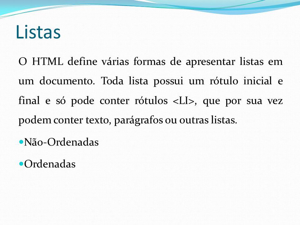 Listas O HTML define várias formas de apresentar listas em um documento.