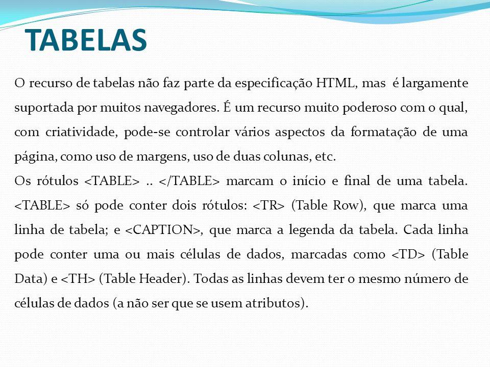 Exemplos de Tabelas: Se o atributo BORDER do rótulo for omitido, a tabela não terá bordas.