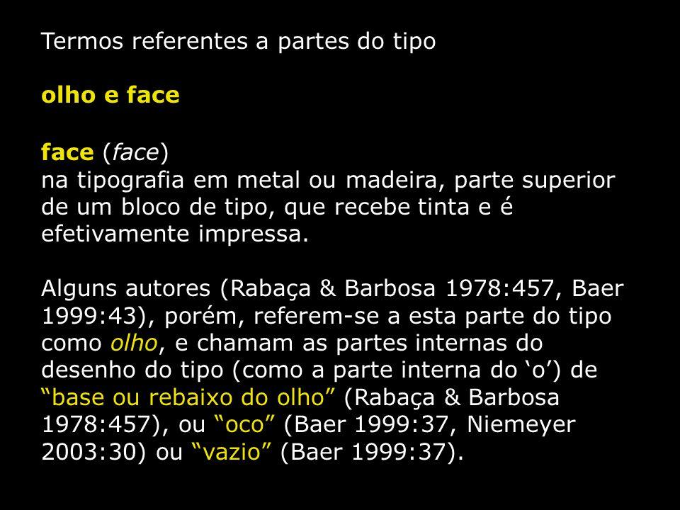 Termos referentes a partes do tipo olho e face face (face) na tipografia em metal ou madeira, parte superior de um bloco de tipo, que recebe tinta e é