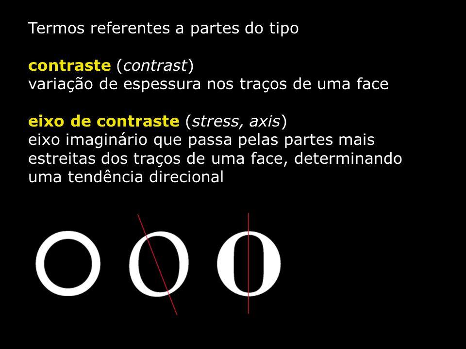 Termos referentes a partes do tipo contraste (contrast) variação de espessura nos traços de uma face eixo de contraste (stress, axis) eixo imaginário