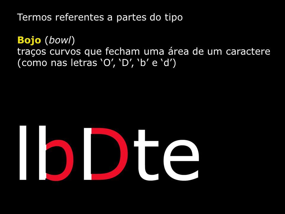 Termos referentes a partes do tipo Bojo (bowl) traços curvos que fecham uma área de um caractere (como nas letras 'O', 'D', 'b' e 'd')