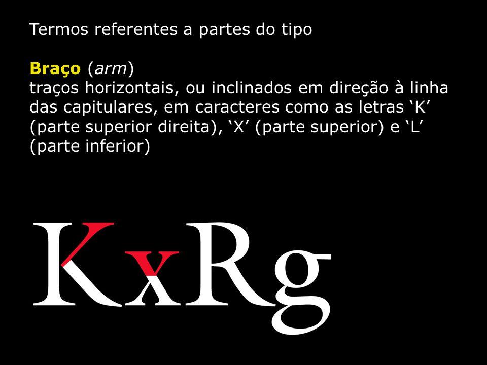 Termos referentes a partes do tipo Braço (arm) traços horizontais, ou inclinados em direção à linha das capitulares, em caracteres como as letras 'K'