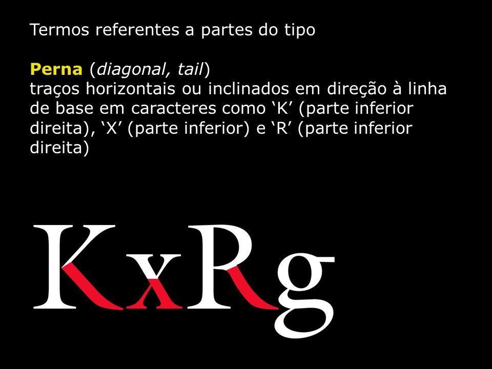 Termos referentes a partes do tipo Perna (diagonal, tail) traços horizontais ou inclinados em direção à linha de base em caracteres como 'K' (parte in