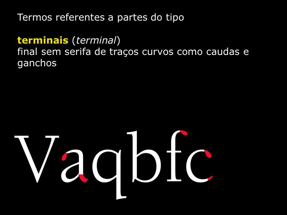 Termos referentes a partes do tipo terminais (terminal) final sem serifa de traços curvos como caudas e ganchos
