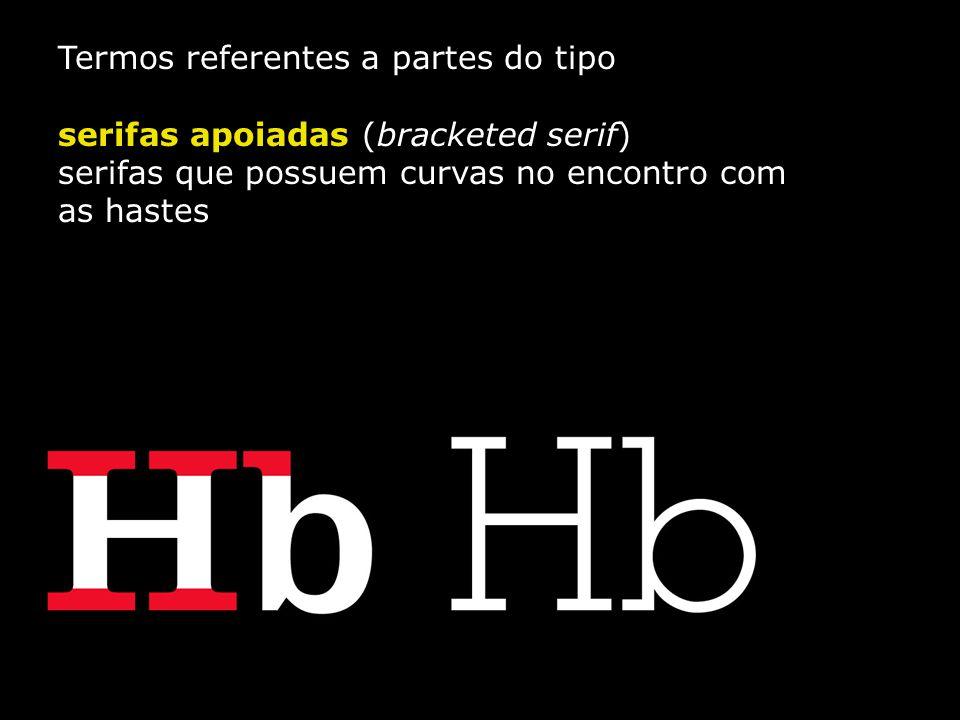Termos referentes a partes do tipo serifas apoiadas (bracketed serif) serifas que possuem curvas no encontro com as hastes