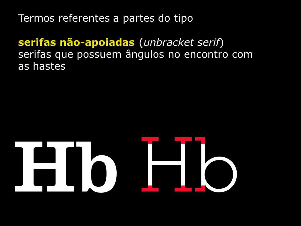 Termos referentes a partes do tipo serifas não-apoiadas (unbracket serif) serifas que possuem ângulos no encontro com as hastes