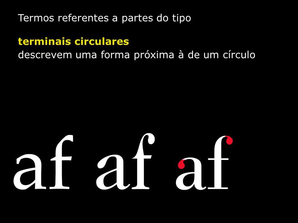 Termos referentes a partes do tipo terminais circulares descrevem uma forma próxima à de um círculo