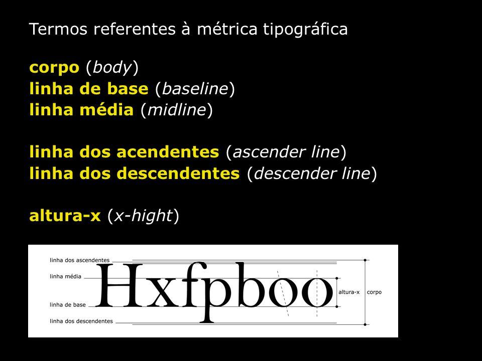 Termos referentes à métrica tipográfica corpo (body) linha de base (baseline) linha média (midline) linha dos acendentes (ascender line) linha dos des