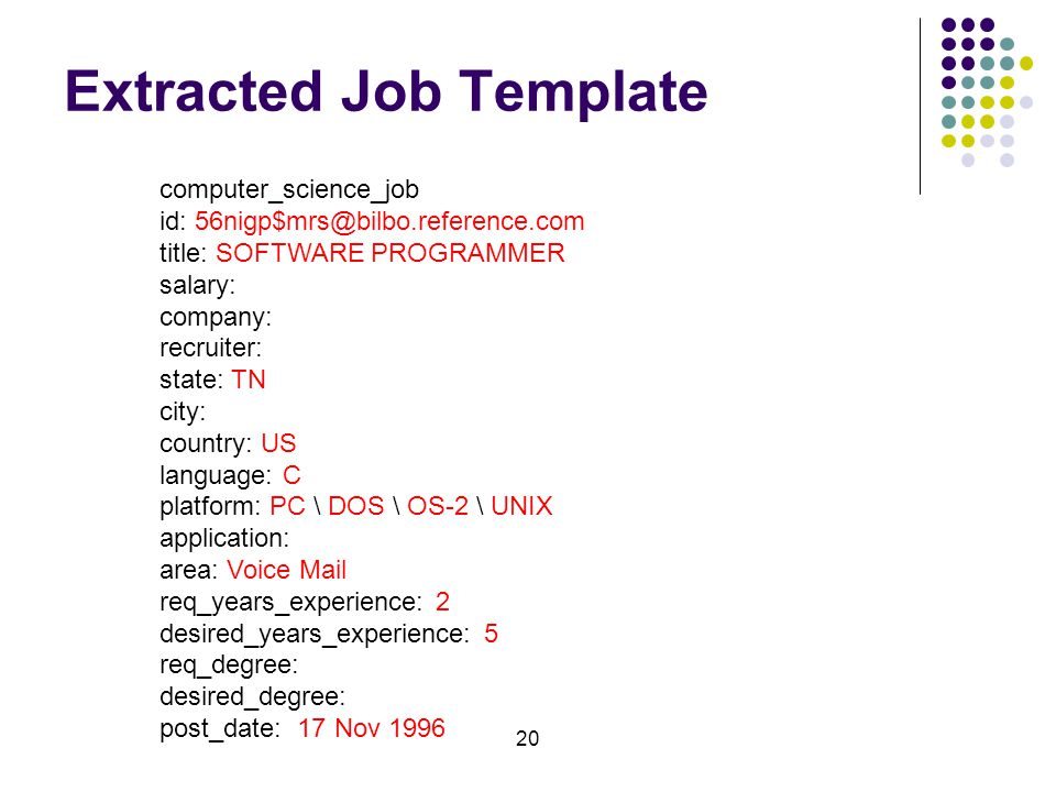 20 Extracted Job Template computer_science_job id: 56nigp$mrs@bilbo.reference.com title: SOFTWARE PROGRAMMER salary: company: recruiter: state: TN city: country: US language: C platform: PC \ DOS \ OS-2 \ UNIX application: area: Voice Mail req_years_experience: 2 desired_years_experience: 5 req_degree: desired_degree: post_date: 17 Nov 1996