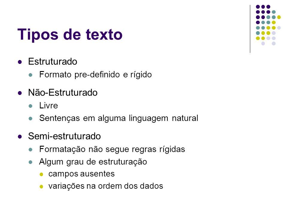 Tipos de texto Estruturado Formato pre-definido e rígido Não-Estruturado Livre Sentenças em alguma linguagem natural Semi-estruturado Formatação não segue regras rígidas Algum grau de estruturação campos ausentes variações na ordem dos dados