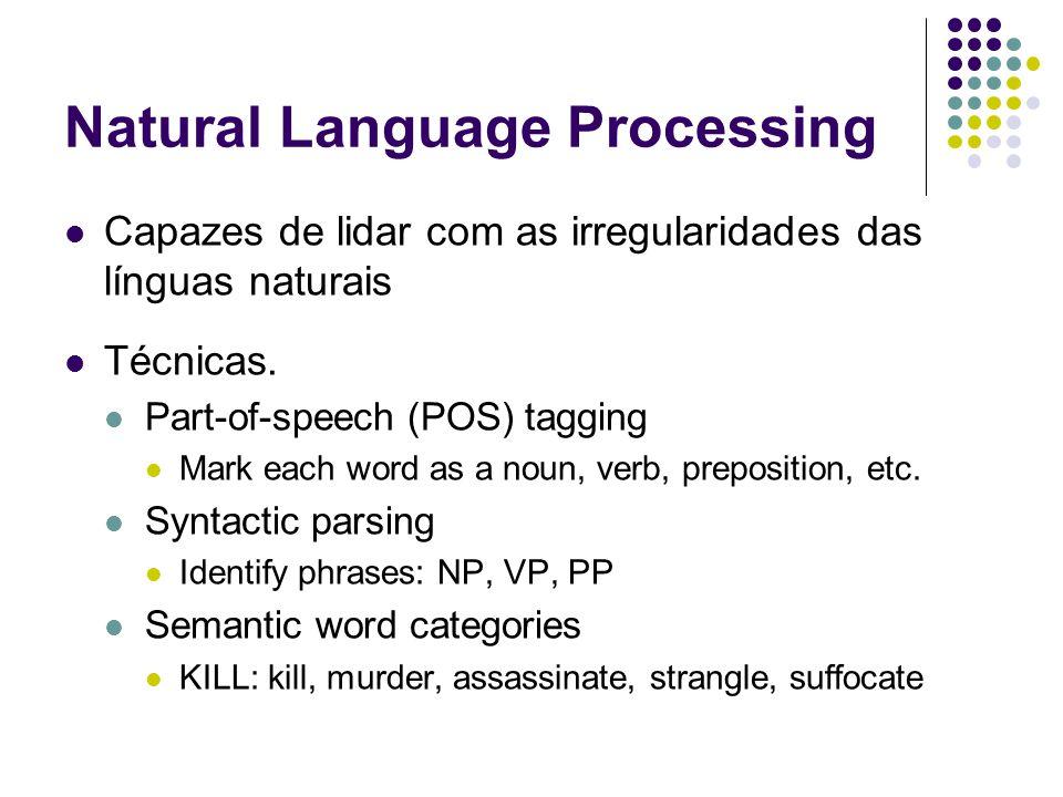 Natural Language Processing Capazes de lidar com as irregularidades das línguas naturais Técnicas. Part-of-speech (POS) tagging Mark each word as a no