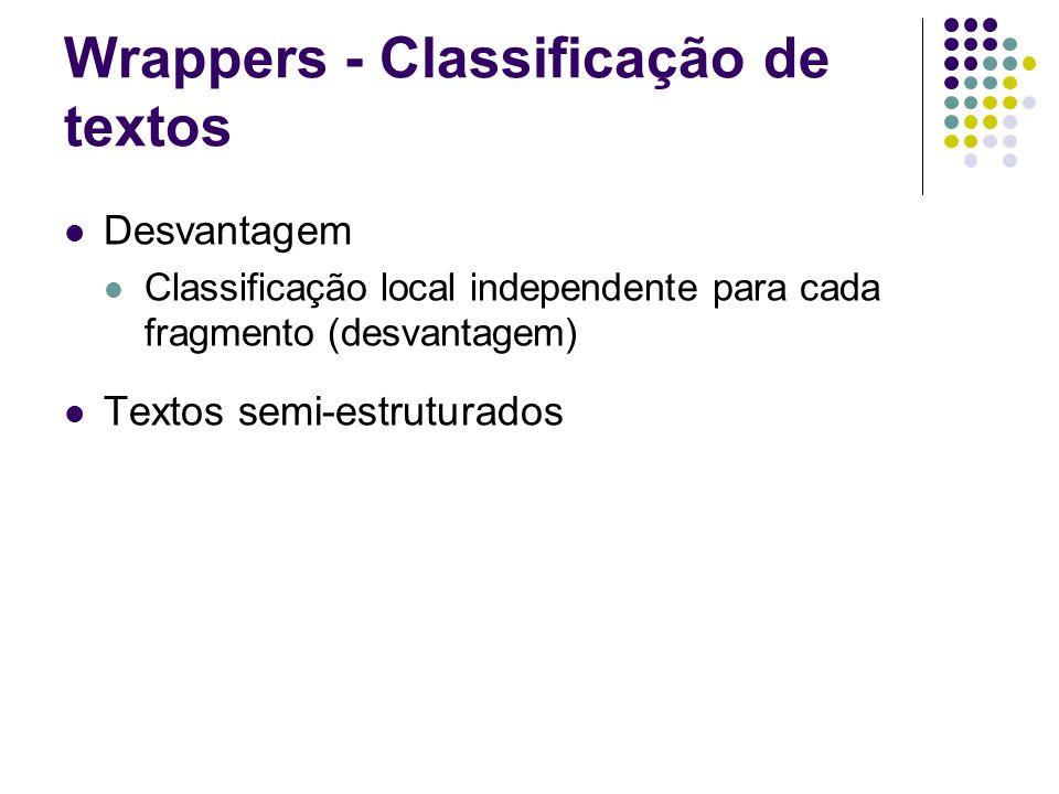 Wrappers - Classificação de textos Desvantagem Classificação local independente para cada fragmento (desvantagem) Textos semi-estruturados