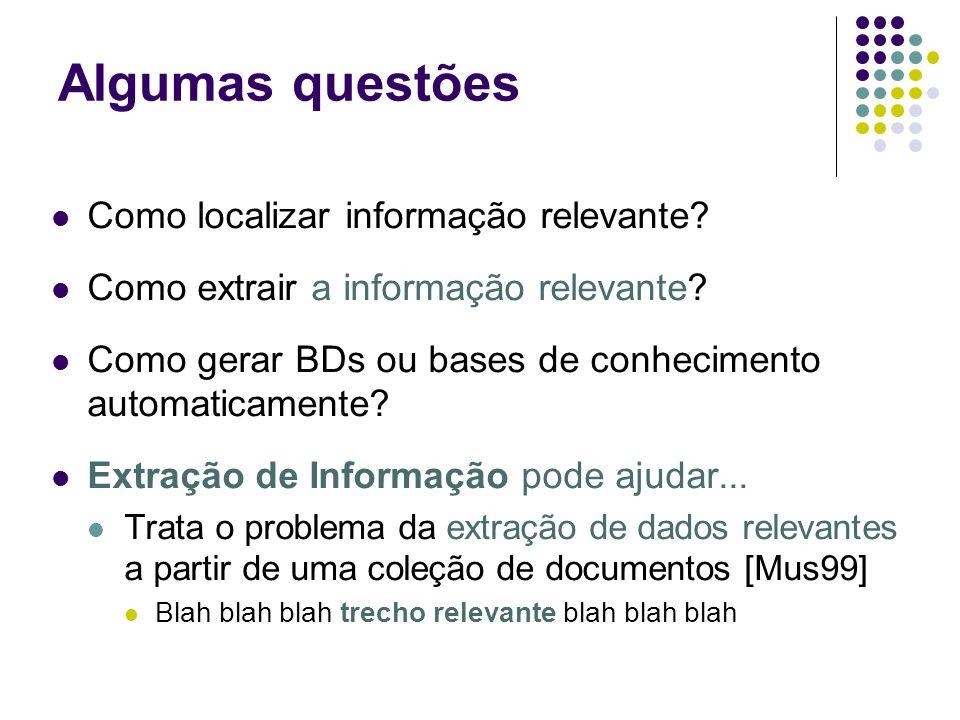 Algumas questões Como localizar informação relevante? Como extrair a informação relevante? Como gerar BDs ou bases de conhecimento automaticamente? Ex